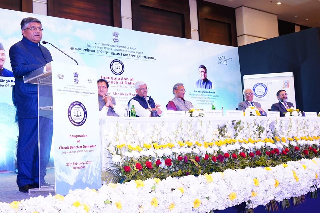 Shri Ravi Shankar Prasad, Hon'ble Minister for Law & Justice, Communications and Electronics & Information Technology addressing the gathering